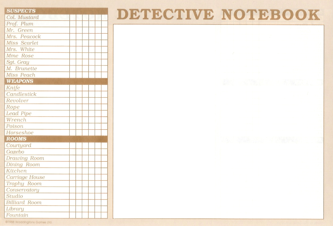 Clue Game Sheets Clue Master Detective